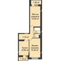 2 комнатная квартира 55,7 м² в ЖК SkyPark (Скайпарк), дом Литер 1, корпус 1, блок-секция 1 - планировка