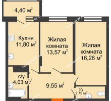 2 комнатная квартира 60,2 м² в Макрорайон Амград, дом №1 - планировка