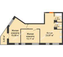 2 комнатная квартира 64,03 м² - ЖК Пушкин