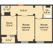 2 комнатная квартира 76,4 м² в ЖК Квартет, дом № 3 - планировка