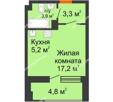 Студия 27,1 м² в ЖК Тихая Гавань на Якорной, дом № 1