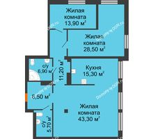 3 комнатная квартира 129,2 м², ЖК Богатяновский - планировка