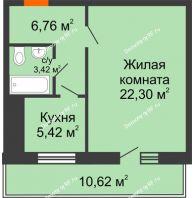 1 комнатная квартира 45 м² в ЖК Боярский двор Премиум, дом 2 очередь - планировка