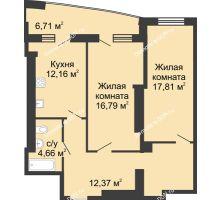 2 комнатная квартира 79 м² в ЖК Тихий Дон, дом № 1 - планировка