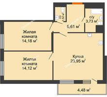 3 комнатная квартира 65,41 м² в ЖК intellect-Квартал (Интеллект-Квартал), дом 2 секция - планировка