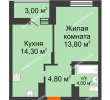 1 комнатная квартира 38,4 м² в ЖК Подкова на Цветочной, дом № 7 - планировка