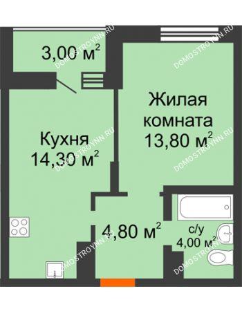 1 комнатная квартира 38,4 м² в ЖК Подкова на Цветочной, дом № 7