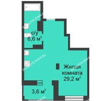 Студия 37,6 м² в ЖК Аквамарин, дом № 6 - планировка