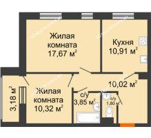 2 комнатная квартира 56,16 м² - Дом на Чаадаева