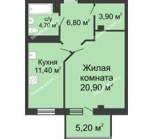 1 комнатная квартира 49,3 м², ЖК Нахичевань - планировка