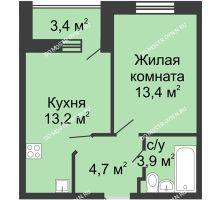 1 комнатная квартира 36,9 м² в ЖК Цветы, дом № 11 - планировка