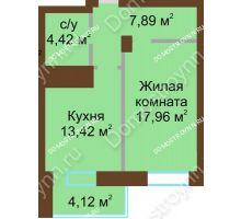 1 комнатная квартира 47,81 м² - ЖК Подкова Приокская