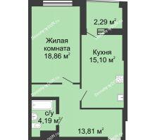 1 комнатная квартира 56,54 м² в ЖК Тихий Дон, дом № 3 - планировка