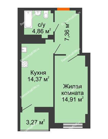 1 комнатная квартира 43,14 м² в ЖК Аврора, дом № 3