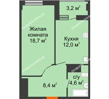 1 комнатная квартира 45,3 м² в ЖК Квартет, дом № 3 - планировка