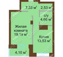 1 комнатная квартира 51,34 м² - ЖК Подкова Приокская