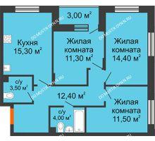 3 комнатная квартира 73,9 м² в ЖК Цветы 2, дом № 4 - планировка