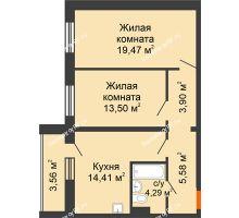 2 комнатная квартира 61,15 м² в ЖК Изумрудный, дом 14 этап - планировка