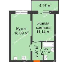 1 комнатная квартира 38,22 м² в ЖК КМ Анкудиновский парк, дом № 20 - планировка