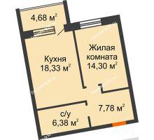 1 комнатная квартира 46,79 м² в ЖК Шоколад , дом ГП-1 - планировка