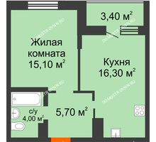 1 комнатная квартира 42,8 м² в ЖК Подкова на Цветочной, дом № 8 - планировка