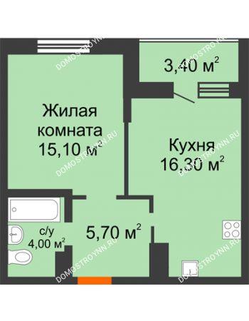 1 комнатная квартира 42,8 м² в ЖК Подкова на Цветочной, дом № 7