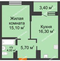 1 комнатная квартира 44,5 м² в ЖК Подкова на Цветочной, дом № 9 - планировка