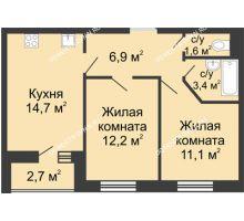 2 комнатная квартира 51,25 м² в ЖК Цветы, дом № 10 - планировка