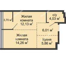 2 комнатная квартира 45,99 м², ЖК Белый Ангел - планировка