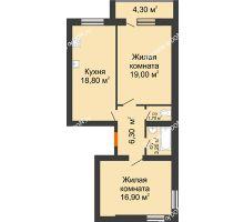 2 комнатная квартира 70,2 м² в ЖК Сиреневый квартал, дом Секция 2 - планировка