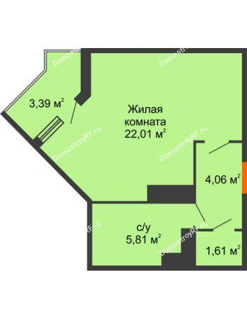 Студия 34,61 м² в ЖК Семейный парк, дом Литер 2