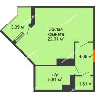 Студия 34,61 м² в ЖК Семейный парк, дом Литер 2 - планировка