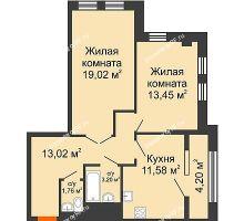 2 комнатная квартира 66,23 м² в ЖК СИТИДОМ, дом 4 очередь,корпус 3 - планировка