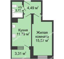 1 комнатная квартира 38,88 м² в ЖК Красная поляна, дом № 6