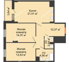 2 комнатная квартира 75,17 м² в ЖК Карамель, дом № 1 - планировка