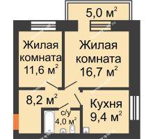 3 комнатная квартира 57,8 м², Жилой дом по ул. Львовская, 33а - планировка