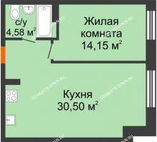 1 комнатная квартира 49,23 м², ЖК Шаляпин - планировка
