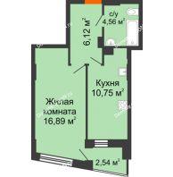 1 комнатная квартира 39,11 м² в ЖК Рубин, дом Литер 3 - планировка