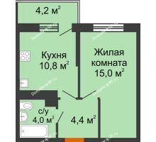 1 комнатная квартира 35,4 м² в ЖК Отражение, дом Литер 2.2 - планировка
