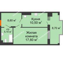 1 комнатная квартира 50,7 м² в ЖК Симфония, дом 3 этап - планировка