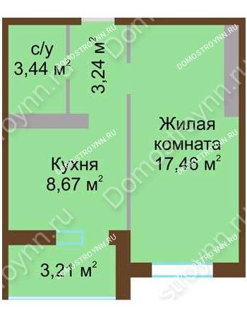 1 комнатная квартира 34,42 м² в ЖК Мой дом на Коломенской, дом № 1