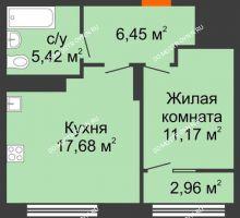 1 комнатная квартира 42,2 м² в ЖК Маленькая страна, дом № 4 - планировка