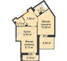 1 комнатная квартира 56,67 м², ЖД Жизнь - планировка