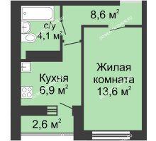 1 комнатная квартира 33,2 м² в ЖК Бурнаковский, дом № 27