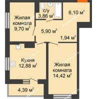 2 комнатная квартира 59,19 м² в ЖК Рассвет, дом № 4 - планировка