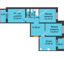 3 комнатная квартира 76,04 м², ЖК Вавиловский Дворик - планировка