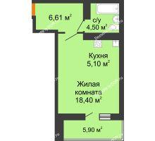 Студия 37,56 м² в ЖК Сокол на Оганова, дом Литер 5 - планировка
