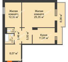 2 комнатная квартира 71,34 м² в ЖК Плодово-Ягодный, дом № 1 - планировка
