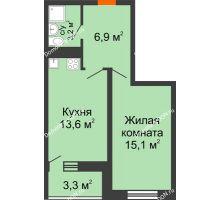 1 комнатная квартира 40,8 м² в ЖК Звезда Столицы, дом Литер 9 - планировка