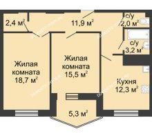 2 комнатная квартира 71,7 м² в ЖК Монолит, дом № 89, корп. 3 - планировка